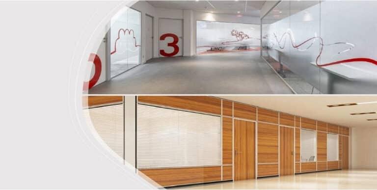 divisória de madeira ou divisória de vidro